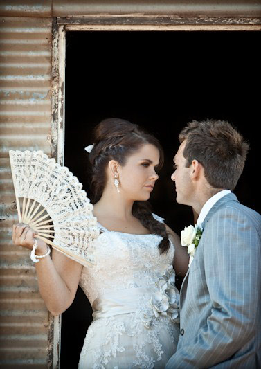 Bride and groom at country wedding