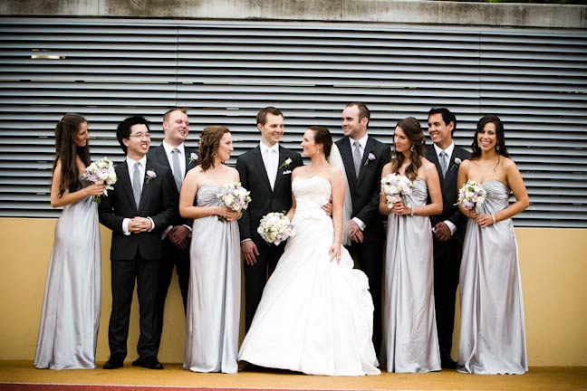 Bridal party with silver