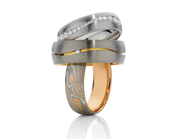 Gold and White gold wedding bands
