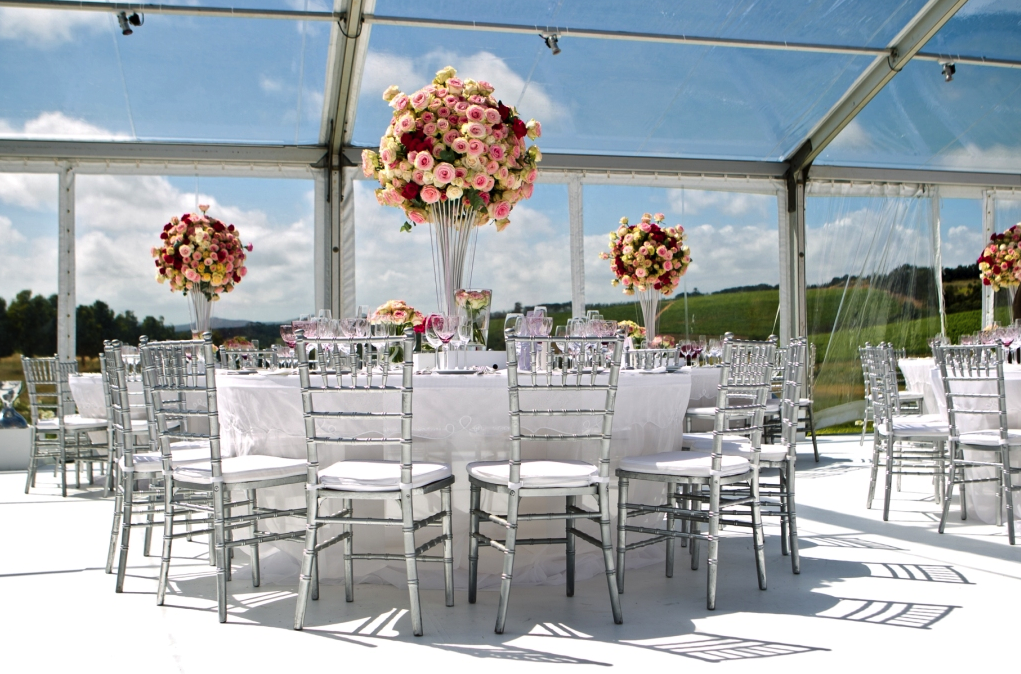 reception room set up with pink roses
