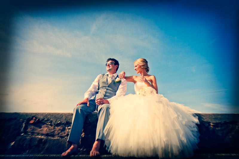 Bride and Groom in the sun