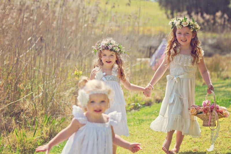 Flower girls for a garden wedding