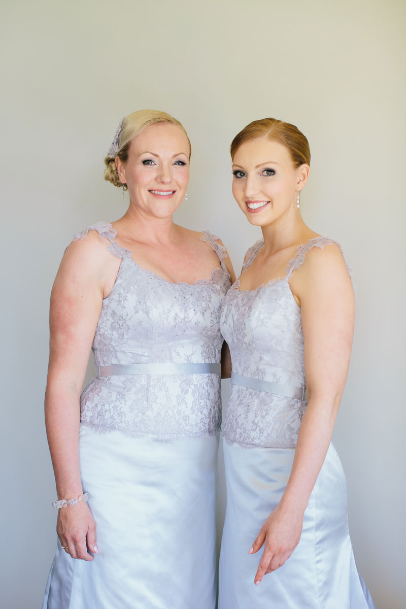 Michelle and Sarah in their bridesmaid dresses by Diane Lewis