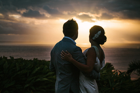 Bride and Groom at Sunset - Intercontinental Fiji Golf Resort and Spa. Image by Hilary Cam