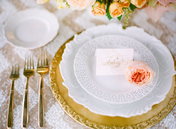Coral-gold-wedding-place-setting