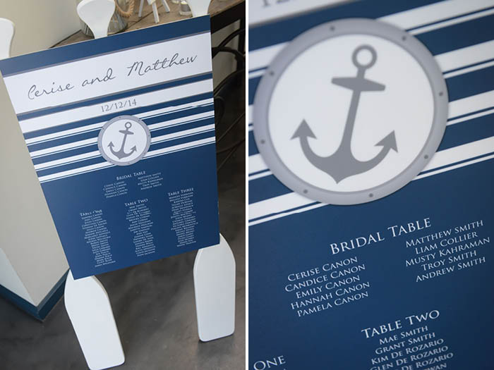 Nautical Wedding Table Seating Chart