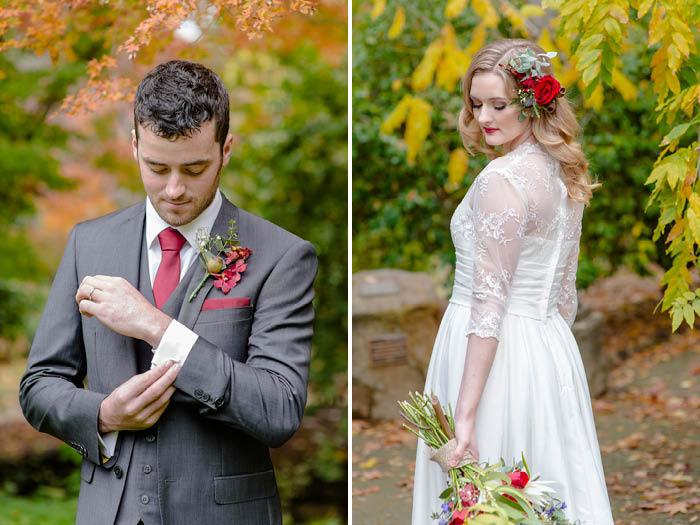 Bride and Groom Winter Wedding Styling