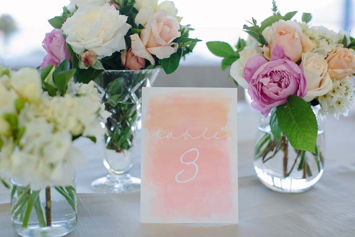 Watercolour Wedding Table Number
