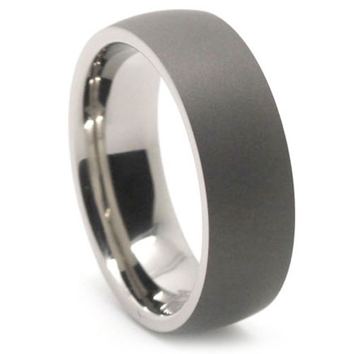 inlaid plated brushed wedding center tungsten ring inside sage ip grey gold rings rose domed