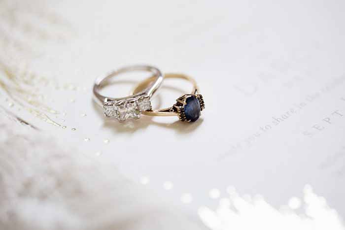 engagement ring and vintage ring