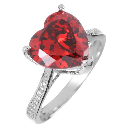 3.5 Carat Created Ruby Heart Promise Ring