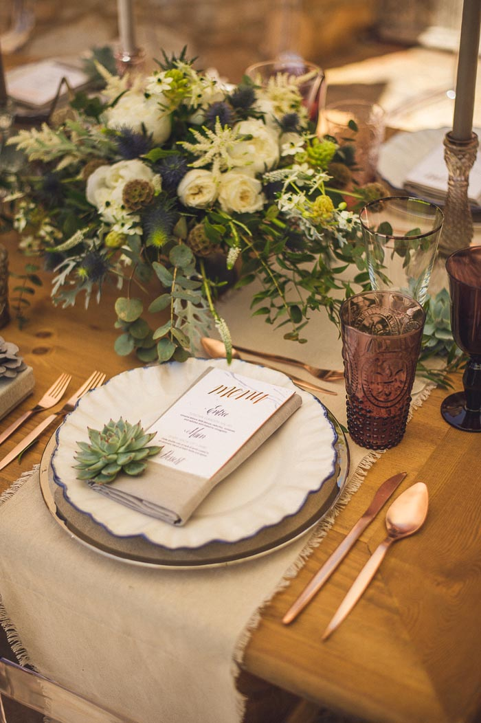 edgy romantic wedding inspiration plates